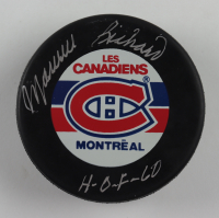 "Maurice Richard Signed Canadiens Logo Hockey Puck Inscribed ""H-O-F 60"" (Beckett COA) at PristineAuction.com"