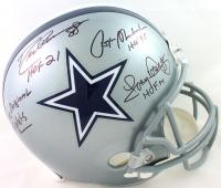 "Drew Pearson, Roger Staubach & Tony Dorsett Signed Cowboys Full-Size Helmet Inscribed ""HOF 21"", ""HOF 85"", ""HOF 94"" & ""The Original Triplets"" (Beckett Hologram) at PristineAuction.com"