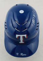 """Nolan Ryan Signed Rangers Authentic Full-Size Batting Helmet Inscribed """"100.7 M.P.H. Fastball"""" with Rawlings Acrylic Display Stand (PSA COA) at PristineAuction.com"""