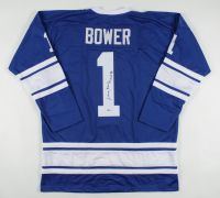 "Johnny Bower Signed Jersey Inscribed ""HOF 76"" (Beckett COA) at PristineAuction.com"