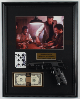"Henry Hill Signed ""Goodfellas"" 16.75x21 Custom Framed Card Display with Replica Gun & Stack of Prop Money (Beckett LOA & PSA COA) at PristineAuction.com"