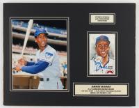 Ernie Banks Signed LE Cubs 14x18 Custom Matted HOF Postcard Display (JSA COA & SOP Hologram) at PristineAuction.com