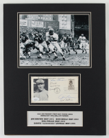 Browns 14x18 Custom Matted Postcard Display Signed by (4) With Jim Brown, Don Shula, Bill Willis & Dante Lavelli (JSA COA) at PristineAuction.com