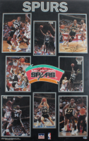 1989-90 Spurs 22x34 Poster Signed by (9) with David Robinson, Maurice Cheeks, Vernon Maxwell, Frank Brickowski, Terry Cummings, David Wingate, Larry Brown (Beckett LOA) (See Descripton) at PristineAuction.com