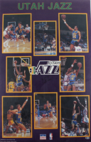 1989-90 Jazz 22x34 Poster Signed by (7) with John Stockton, Karl Malone, Darrell Griffith, Thurl Bailey, Jerry Sloan (Beckett LOA) (See Descripton) at PristineAuction.com