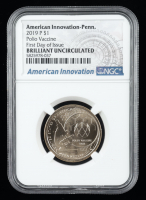 2019-P $1 American Innovation PA Polio Vaccine $1 One Dollar Coin (NGC MS 66) at PristineAuction.com
