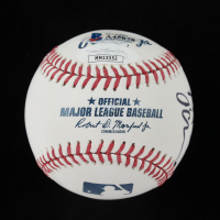 """OML Baseball Signed by (5) with Dan Patrick, Paul Pabst, Patrick """"Seton"""" O'Connor, Todd Fritz with Display Case (Beckett LOA & JSA COA) at PristineAuction.com"""
