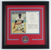 "Hank Aaron Signed Braves ""Hall of Fame Induction Day"" 16x16 Custom Framed Print Display (JSA COA) at PristineAuction.com"