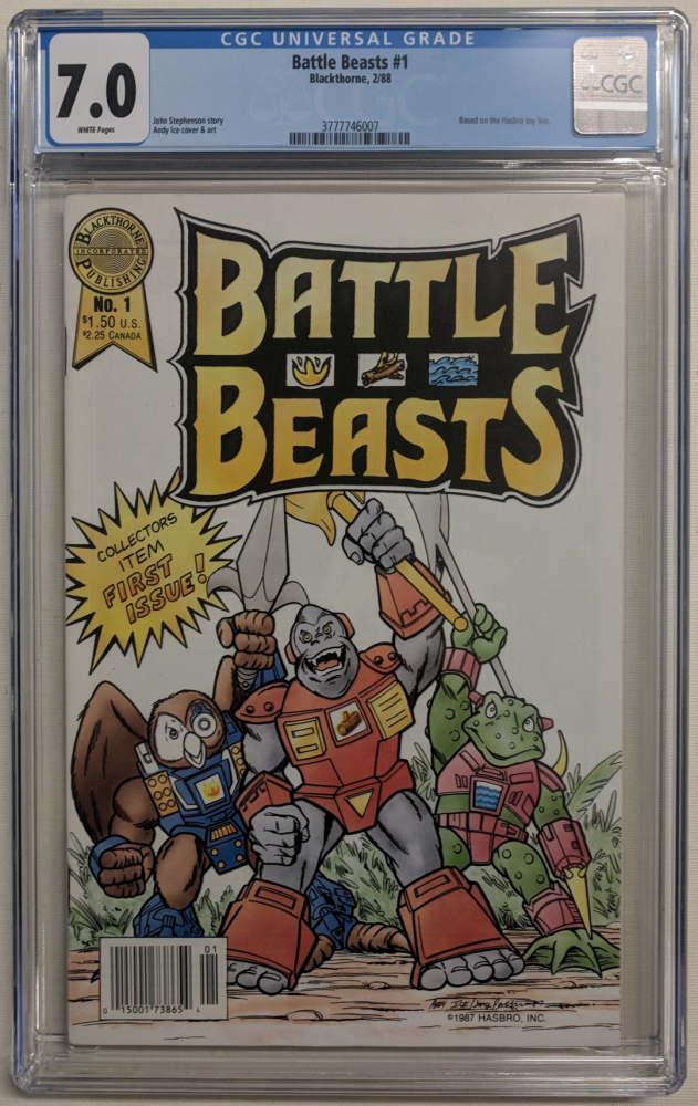 "1988 ""Battle Beasts"" Issue #1 Blackthorne Comic Book (CGC 7.0) at PristineAuction.com"