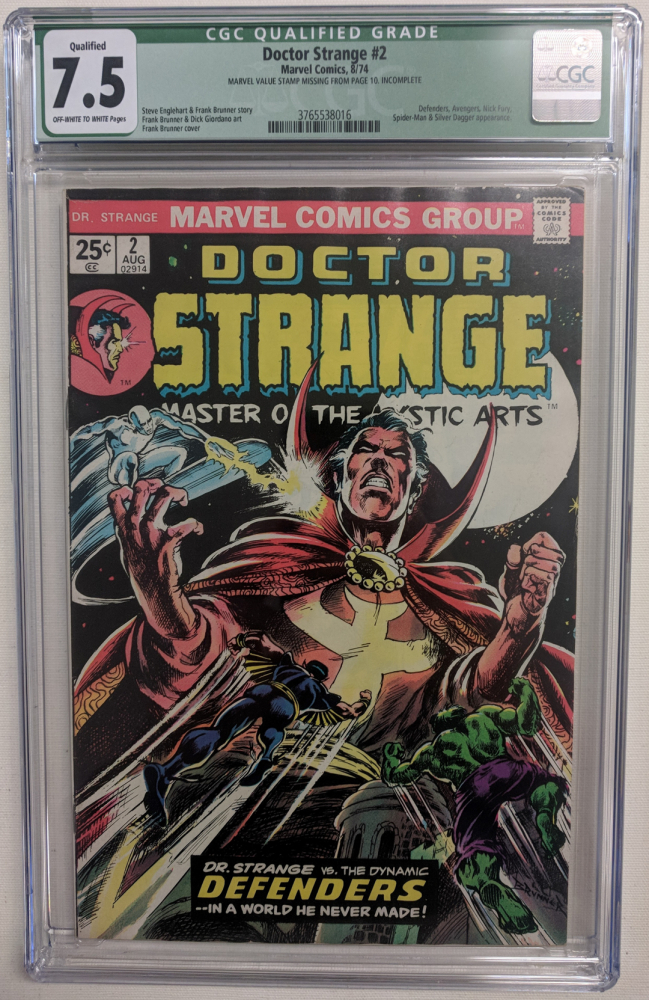 """1974 """"Doctor Strange"""" Issue #2 Marvel Comic Book (CGC Qualified 7.5) at PristineAuction.com"""
