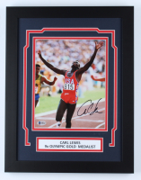 Carl Lewis Signed 14x18 Custom Framed Photo Display (Beckett COA) at PristineAuction.com