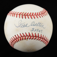"Steve Carlton Signed ONL Baseball Inscribed ""329 W's"" (JSA COA) (See Description) at PristineAuction.com"