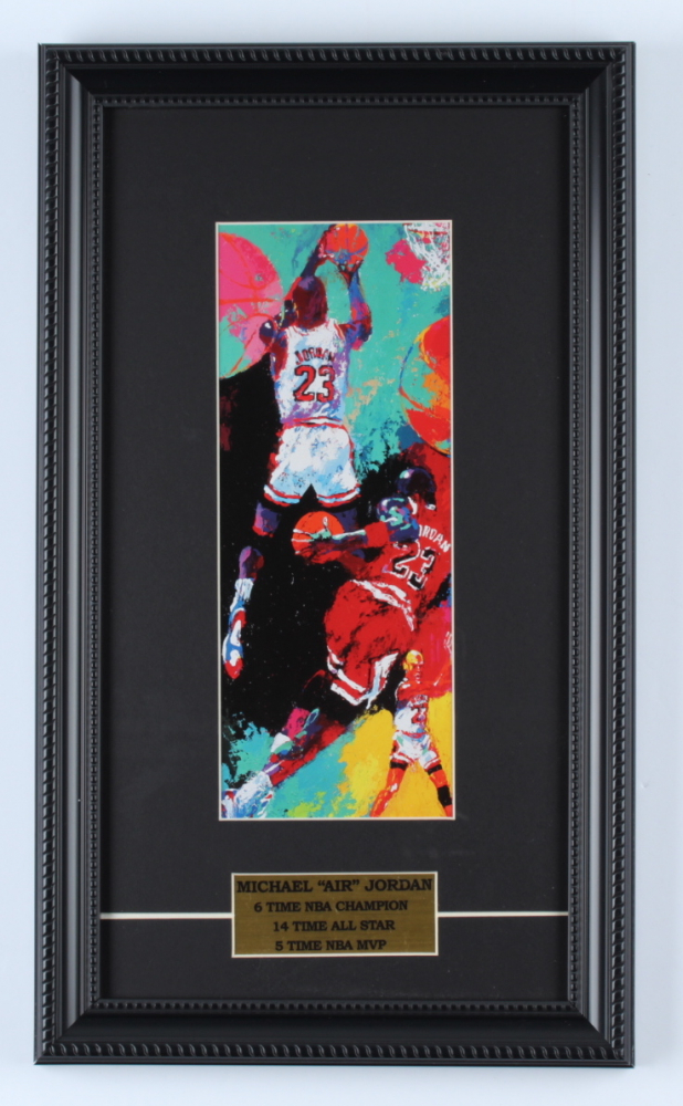 "LeRoy Neiman ""Michael Jordan"" 9.5x16.5 Custom Framed Print Display at PristineAuction.com"