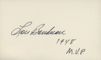 "Lou Boudreau Signed 3x5 Index Card Inscribed ""1948 M.V.P."" (JSA COA) at PristineAuction.com"