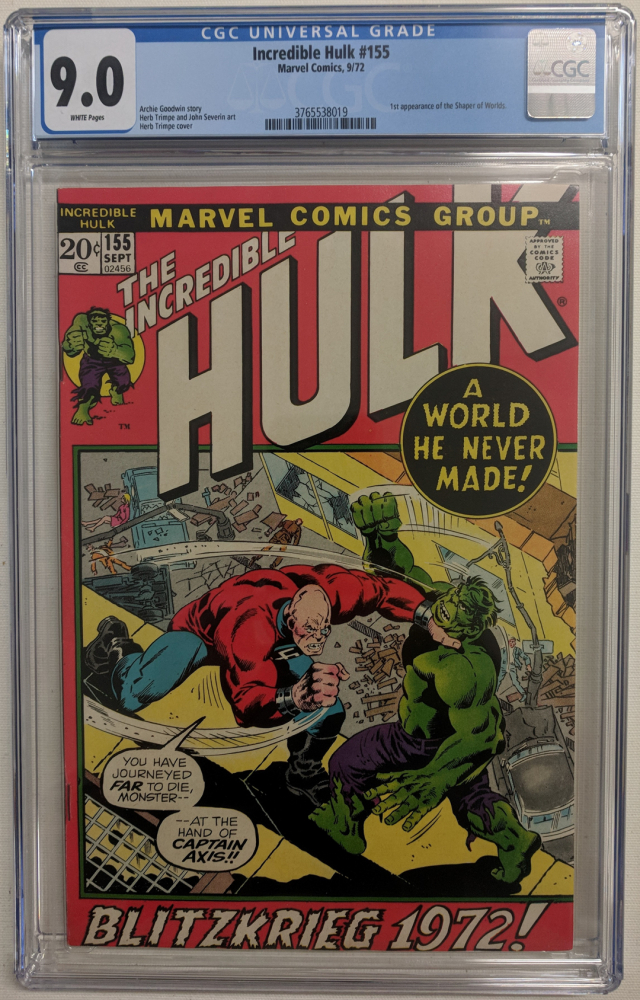 """1972 """"The Incredible Hulk"""" Issue #155 Marvel Comic Book (CGC 9.0) at PristineAuction.com"""