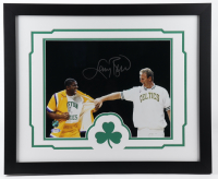 Larry Bird Signed Celtics 18x22 Custom Framed Photo Display (PSA COA & Bird Hologram) at PristineAuction.com
