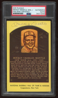 Mickey Mantle Twice-Signed Hall of Fame Plaque Postcard (PSA Encapsulated) at PristineAuction.com