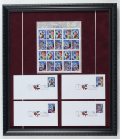 Disneyland 17x19.5 Custom Framed Uncut Stamp Sheet Display with (4) Original First Day Covers at PristineAuction.com