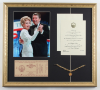 Ronald Reagan 18x20 Custom Framed Photo Display with Inauguration Invitation & Bracelet at PristineAuction.com