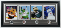 "Gritty, Phillie Phanatic, Swoop & Franklin ""Philadelphia Mascots"" 18x40 Custom Framed Photo Display with (4) Pins (See Description) at PristineAuction.com"