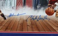 Hakeem Olajuwon & Clyde Drexler Signed Rockets 22x26 Custom Framed Photo Display (JSA COA) (See Description) at PristineAuction.com