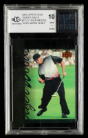Tiger Woods 2001 Upper Deck Tiger's Tales #TT21 with Woods Worn Shirt Piece (BCCG 10) at PristineAuction.com