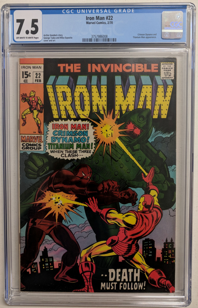 """1970 """"The Invincible Iron Man"""" Issue #22 Marvel Comic Book (CGC 7.5) at PristineAuction.com"""