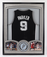 Tony Parker Signed Spurs 34x42 Custom Framed Jersey Display (PSA Hologram) at PristineAuction.com
