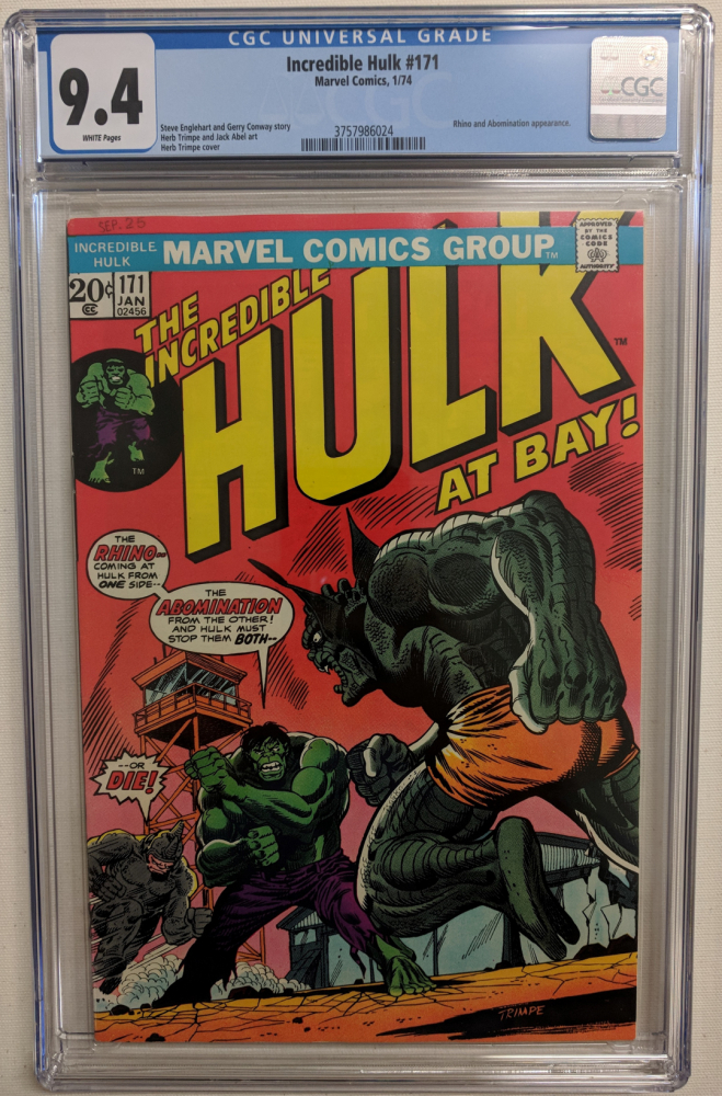 """1974 """"The Incredible Hulk"""" Issue #171 Marvel Comic Book (CGC 9.4) at PristineAuction.com"""