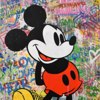 """Mr. Brainwash Signed """"M Classic"""" 38x50 One-of-a-Kind Mixed Media on Deckle Edge Paper at PristineAuction.com"""