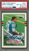 Barry Sanders Signed 1989 Topps Traded #83T RC (PSA 8.5) at PristineAuction.com