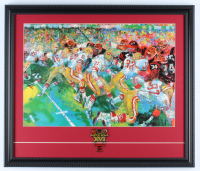 "LeRoy Neiman ""Joe Montana At The Super Bowl"" 18x21 Custom Framed Print Display with Super Bowl XVI Lapel Pin at PristineAuction.com"