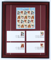 Disneyland 17x20 Custom Framed Uncut Stamp Sheet Display with (4) Original First Day Covers at PristineAuction.com