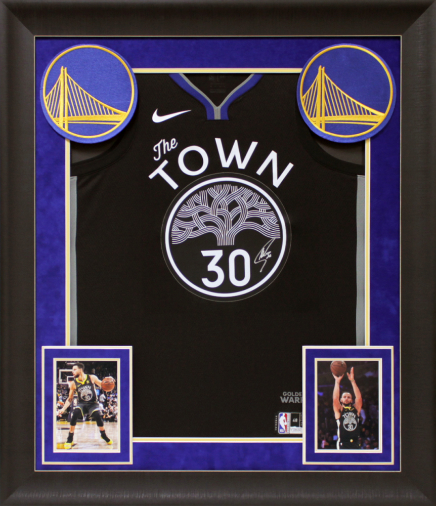 Stephen Curry Signed Warriors 32x37 Custom Framed Jersey Display (Fanatics Hologram) at PristineAuction.com