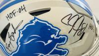 Barry Sanders & Calvin Johnson Signed Lions Full-Size Authentic On-Field Speedflex Helmet with HOF Inscriptions (JSA COA & Schwartz Sports COA) at PristineAuction.com