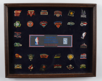 Complete NBA Teams Vintage Pin Set 12.5x15.5 Custom Framed Display (See Description) at PristineAuction.com
