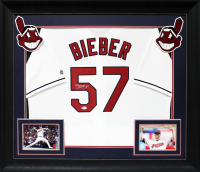 Shane Bieber Signed 33x37 Custom Framed Jersey Display (Beckett COA) at PristineAuction.com