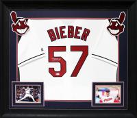 Shane Bieber Signed 33x37 Custom Framed Jersey Display (Beckett COA) at PristineAuction.com