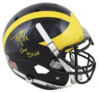 """Ty Law Signed Michigan Wolverines Authentic On-Field Full-Size Helmet Inscribed """"Go Blue"""" (Beckett Hologram) at PristineAuction.com"""