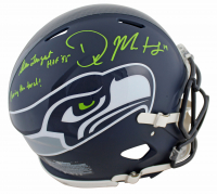 "Steve Largent & DK Metcalf Signed Seahawks Full-Size Authentic On-Field Speed Helmet Inscribed ""HOF 95"" & ""Passing the Torch!"" (Beckett COA) at PristineAuction.com"