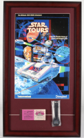 "Disneyland Tomorrowland ""Star Tours"" 15x26 Custom Framed Print Display with Vintage Ticket Booklet & Vintage Original Star Tours Ride Opening Watch in Original Package (See Description) at PristineAuction.com"