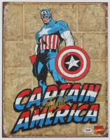 "Stan Lee Signed ""Captain America"" 12.5x16 Metal Sign (PSA COA) at PristineAuction.com"