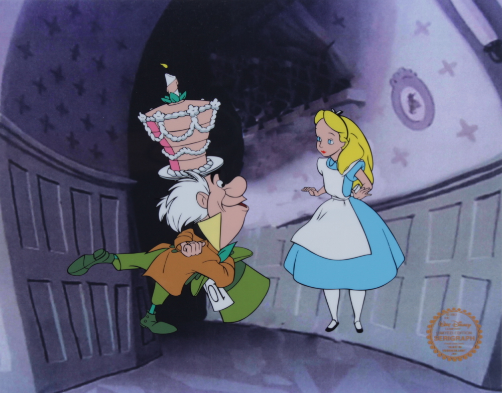 """Walt Disney's """"Alice in Wonderland"""" LE 11x14 (2) Piece Animation Serigraph Cel with Disney Seal at PristineAuction.com"""