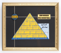 "John Wooden Signed ""The Pyramid of Success"" 13.75x15.75 Custom Framed Cut Display Inscribed ""Best Wishes"" with Vintage UCLA Pin (PSA COA) (See Description) at PristineAuction.com"