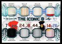 2020 ITG Used Sports The Iconic 8 Memorablilia Platinum Blue Spectrum #TI802 Mickey Mantle / Frank Robinson / Willie Mays / Carl Yastrzemski / Willie McCovey / Willie Stargell / Pete Rose / Billy Williams at PristineAuction.com