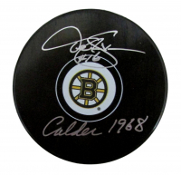 """Derek Sanderson Signed Bruins Logo Hockey Puck Inscribed """"Calder 1968"""" (PSA COA) at PristineAuction.com"""