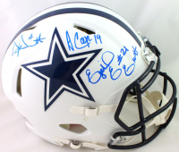 Dak Prescott, Amari Cooper & Ezekiel Elliott Signed Cowboys Full-Size Authentic On-Field Matte White Speed Helmet (Beckett COA) at PristineAuction.com