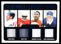 2020 ITG Used Sports Season Leaders Dual Memorabilia Navy Blue #SL09 Wade Boggs / Jerry Rice / Dominique Wilkins / John Vanbiesbrouck at PristineAuction.com