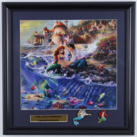 "Thomas Kinkade Walt Disney's ""The Little Mermaid"" 16x16 Custom Framed Print Display with The Little Mermaid Pin at PristineAuction.com"