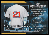 Roger Clemens 2020 ITG Used Sports A Year to Remember Quad Memorabilia Purple Spectrum #AYR37 at PristineAuction.com